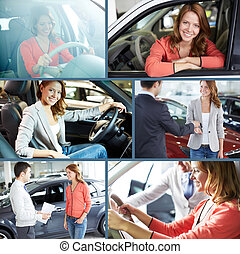 Driver of new car - Collage of elegant woman buying a new...