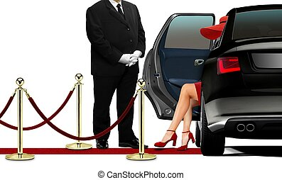Driver opening black limousine door for women in red dress