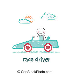 driver rides in the car