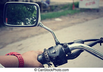 Driver riding motorcycle