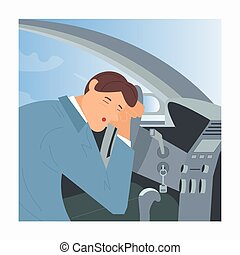 Tired or drunk man sleeping at the wheel of his car. Sleepy People while driving as a result of insomnia and lack of sleep. Flat Art Vector Illustration