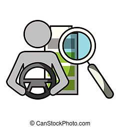 driver steering and magnifying glass autonomous car