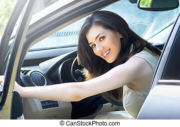 driver - Girl sitting in the car