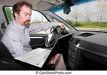 driver using gps laptop