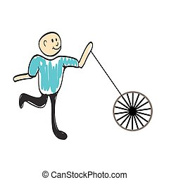 driver with a wheel of the car illustration