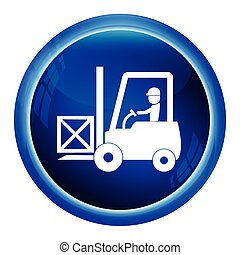 Driver with forklift and crate symbol icon