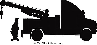 driver with heavy duty tow truck - driver sytanding by tow ...