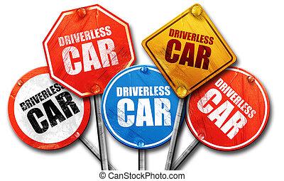 driverless, レンダリング, 通り 車, サイン, 3d