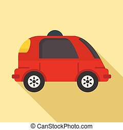 Driverless car icon, flat style
