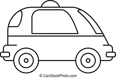 Driverless car icon, outline style