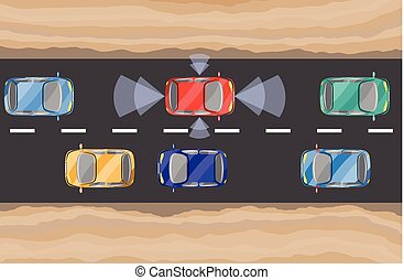 Driverless car, self-driving auto, view from above