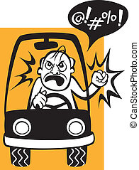 Drivers Beware! - Vector illustration of a woman trying to...