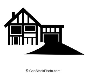 Large driveway with tutor style house in black and white on isolated background