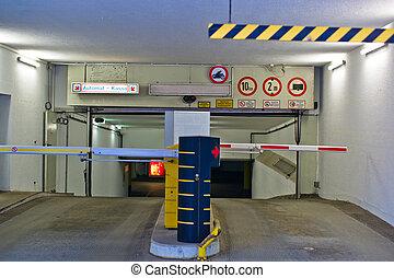 driveway parking - the entrance to a parking garage. garage...