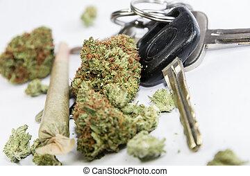 driving-, -, ドライブしなさい, don't, 自動車のキー, インド大麻, 高く, マリファナ
