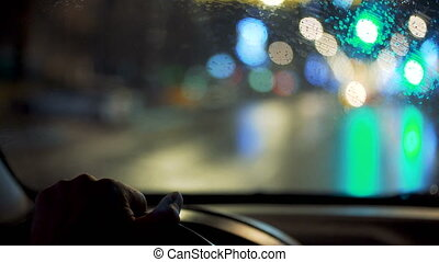Driving a car at night