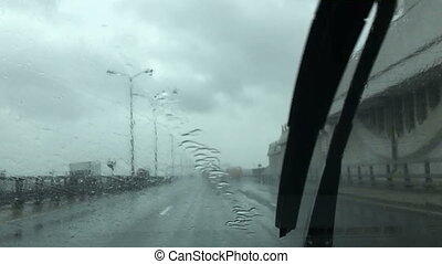 Driving a car during rainy weather