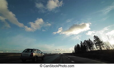 Driving a car on a highway. POV