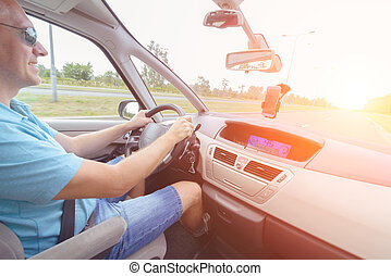 Driving a car - passenger seat view