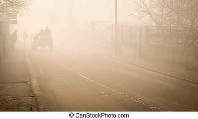 driving a tractor in the fog