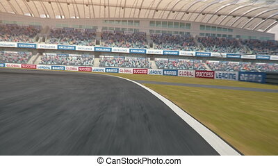 POV shot of a formula one race car driving along the race track - realistic high quality 3d animation - my own car design - no copyright/trademark infringement