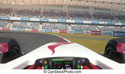 POV shot of a generic formula one race car driving along the race track - center view - realistic high quality 3d animation - my own car design - no copyright/trademark infringement