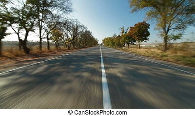 driving a car along a country road in autumn, Wide shot