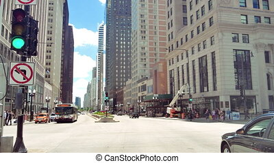 Driving Along the Golden Mile at Michigan Avenue in Chicago...