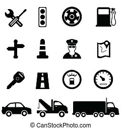 Driving and traffic icons - Driving, road and traffic icon...