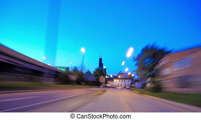 Driving at Full Speed to Downtown Chicago at Sunset Time...