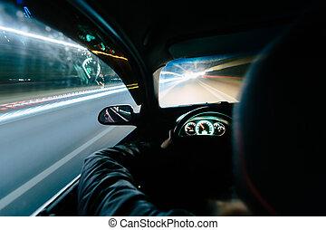 Driving at night.