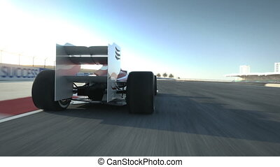 driving behind F1 race car on deser - Formula One race car...