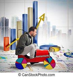 Driving between diagrams - Businessman driving between ...