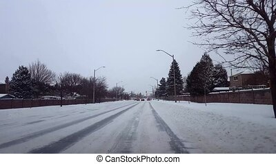 Driving Bumpy Snowy Street in Day. Driver Point of View POV...