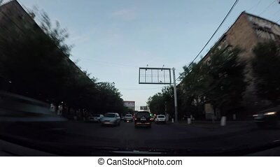 Driving by car at night Yerevan, Armenia timelapse video
