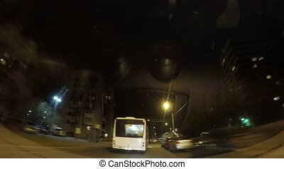 Driving by car in the night city of St. Petersburg timelapse