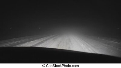 driving by car on the night roads at winter front view.