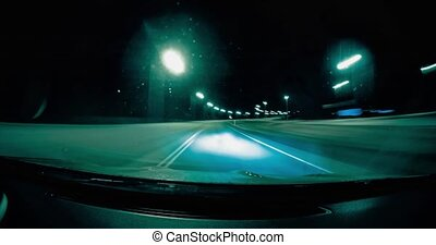 Driving by car on the night roads of Finland timelapse