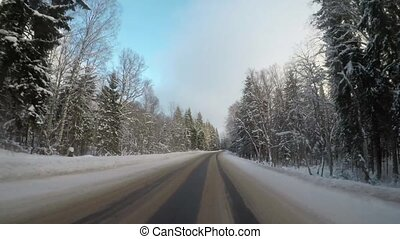 driving by car on the road through the forest in winter....