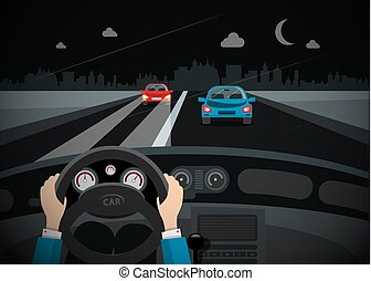 Driving Car in the Night with Cars aon Street and City on Background