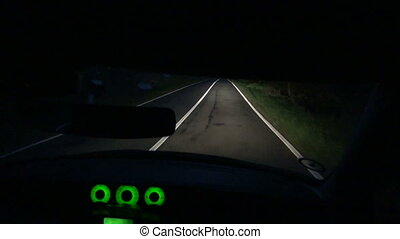 Driving car on road at night