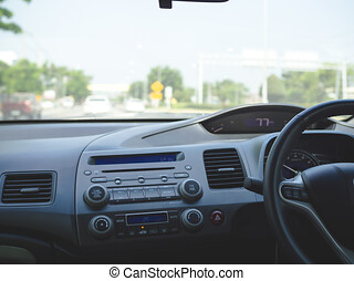 Driving car on the highway