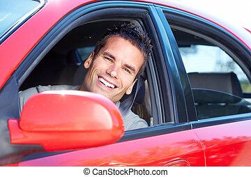 driving., człowiek