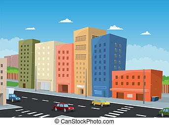Driving Downtown - Illustration of a cartoon city downtown, ...