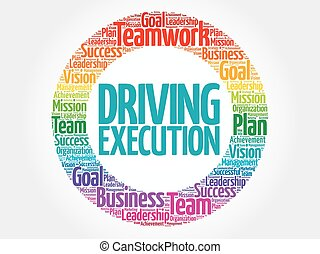 Driving Execution circle stamp word cloud, business concept
