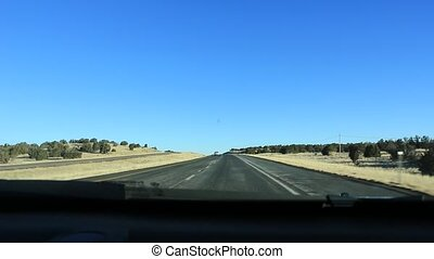 Driving Fast Through the Nevada Desert in Red Rock USA. TImelapsed