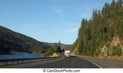Driving Highway 12 along the Clearwater River in Idaho.
