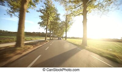 Driving In A Alley with Sun