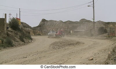 Driving in a Dusty Rural Road, Al Paz, Bolivia - Medium...