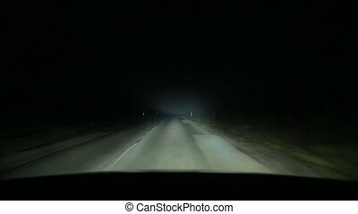Driving in fog at night